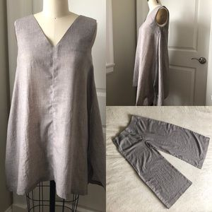Handmade Summer Taupe Top and Crop Pants Set
